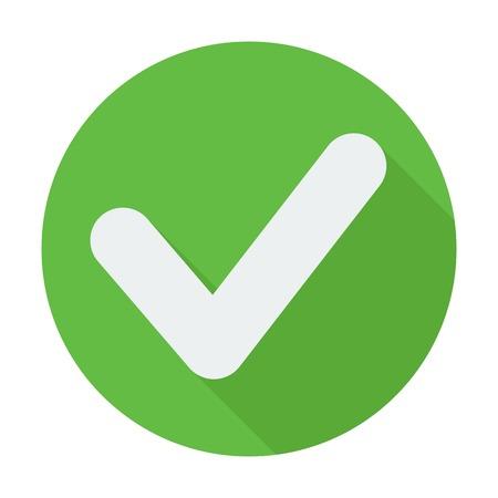 Single platte vinkje icoon met lange schaduw Vector illustratie, gemakkelijk te plakken op elke achtergrond