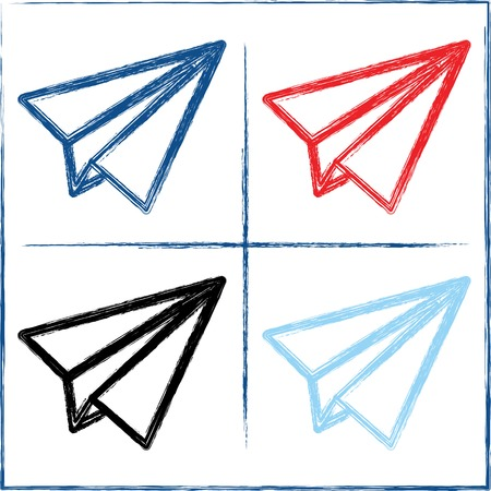 Hand drawn paper planes on white background  Blue, aquamarine, black and red Vector