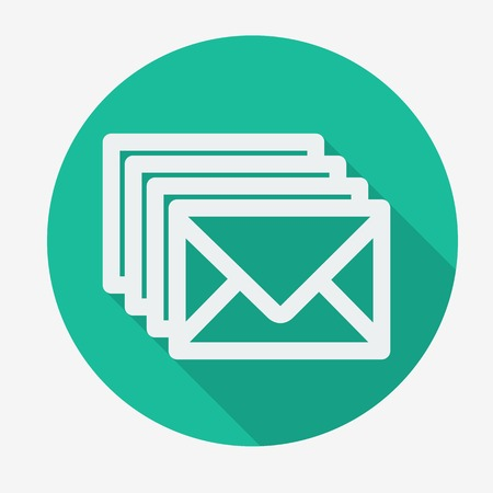 Four envelopes flat icon with long shadow. Social networking and communication. Vector