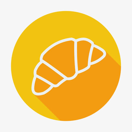 buttery: Single flat style croissant icon with long shadow