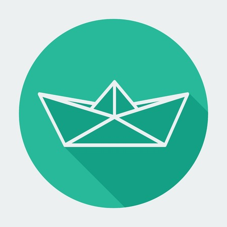 Single flat paper boat icon with long shadow. round Vector