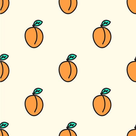 Seamless pattern with apricot. Vector illustration. Hand-drawn background.