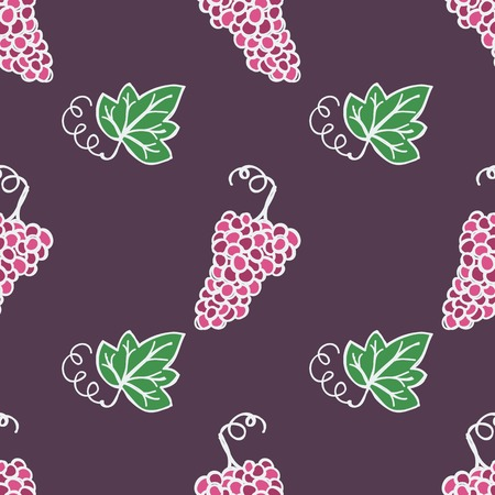 Hand-drawn seamless pattern. Vector illustration. Wine topic - grape ripe and leaf Vector