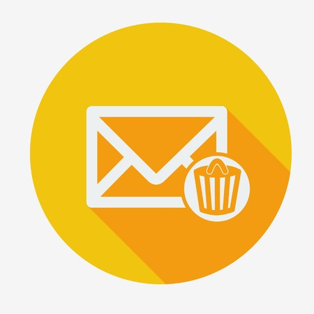 wastebasket: Single flat icon with long shadow for web applications, email icons design. Envelope with trash can. Vector illustration. Social networking and communication. Easy paste to any background