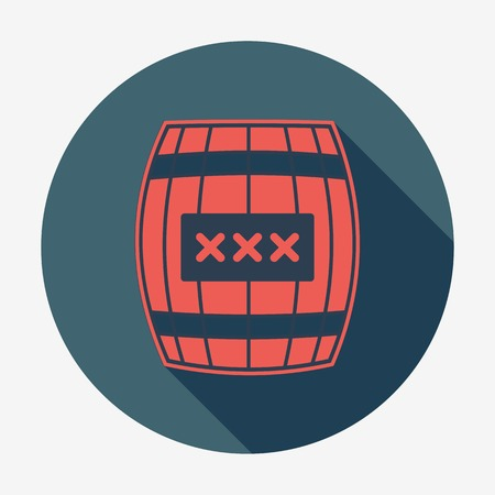 Pirate icon with long shadow, cask or barrel. Flat design style modern vector illustration. Isolated on background. Elements in flat design. Vector