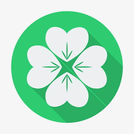 goodluck: Flat style icon with long shadow, four-leaf clover vector illustration. Easy paste to any background. Illustration
