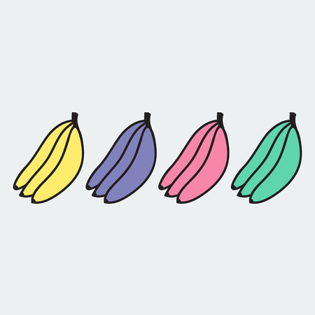 primate biology: set of hand-drawn banana - illustration on the theme of the summer and autumn - farm, fruit, natural. Pink, green, wellow and violet sweet and tasty bananas.