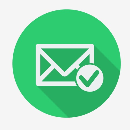 Single flat icon with long shadow for web applications, email icons design. Envelope with accept sign. Vector illustration.