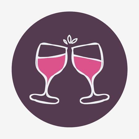 Dibujado a mano a icono celebratoin con dos copas de vino. Ilustración vectorial, aislado en el fondo. Fácil pegar a cualquier fondo Foto de archivo - 33499516