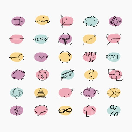 Set of simple hand drawn icons. Business and start up. Vector illustration. Easy to paste to any background Vector