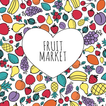 Hand-drawn fruit market concept. Heart shape with organic fruits icons. Vector illustration Vector