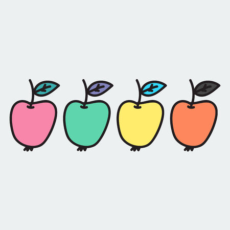 Vector illustration. Apple. Hand-drawn object isolated on white background. Easy paste to any background Vector