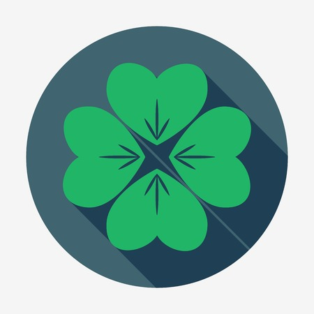 leafed: Flat style icon with long shadow, four-leaf clover vector illustration. St. Patricks Day symbol. Easy paste to any background.