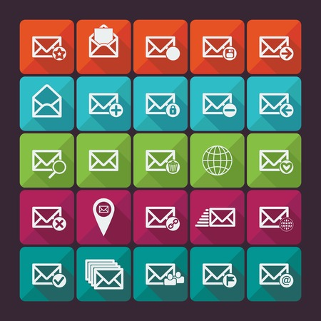 unread: Set of twenty five flat vector mail icons. Vector illustration. Long shadow