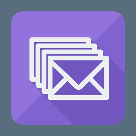 Four envelopes square flat icon with long shadow. Vector illustration. Social networking and communication.