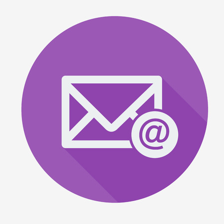 Mail icon, envelope with email sign. Flat design vector illustration. Long shadow