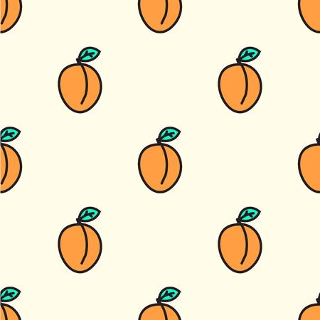 Seamless hand-drawn pattern with apricot. Vector illustration. Doodle style
