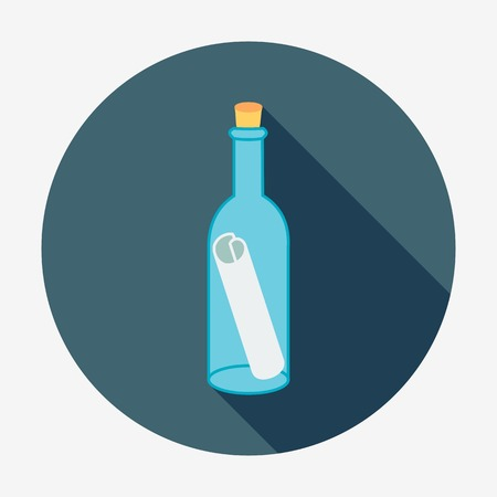 Pirate icon, bottle mail. Flat design vector illustration. Long shadow