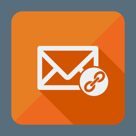 Mail icon, envelope with chain. Flat design vector illustration. Long shadow