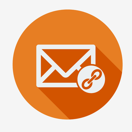 chat room: Mail icon, envelope with chain. Flat design vector illustration. Long shadow