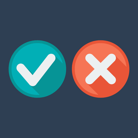 validation: Flat style icons. Check and cross marks. Validation. Vector illustration. Long shadow