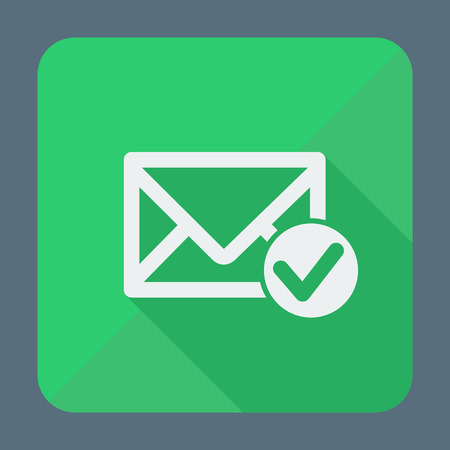 to accept: Mail icon, envelope with accept sign. Flat design vector illustration.  Long shadow