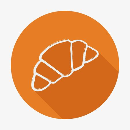 buttery: Single croissant icon. vector illustration with long shadow. Flat style