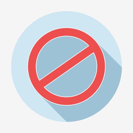 negar: Estilo individual plana negar icono con una larga sombra. Ilustraci�n del vector. Cancelar icono.