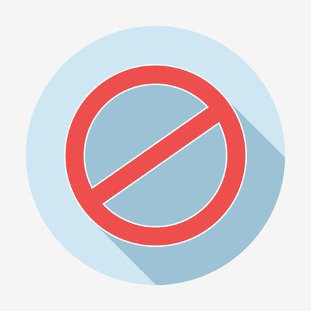 deny: Single flat style deny icon with long shadow. Vector illustration. Cancel icon. Illustration