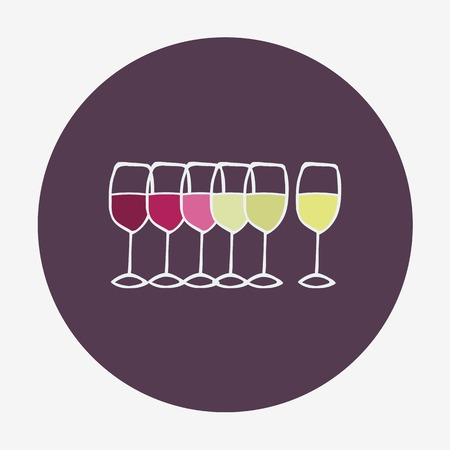 red wine pouring: Hand-drawn icon with wine glasses. Vector illustration. Doodle style Illustration