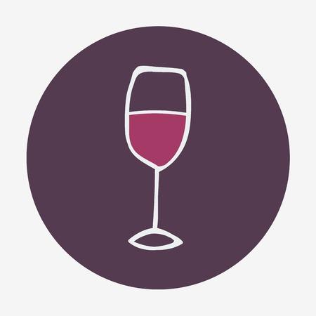 Icono con la copa de vino a mano. Ilustración del vector. Doodle estilo Foto de archivo - 38311401