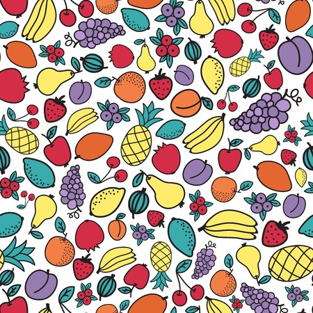 differnt: Seamless hand-drawn pattern with differnt fruits. Vector illustration. Doodle style