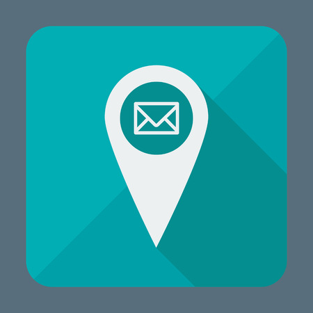 geo: Flat style geo tag icon with long shadow, vector illustration. Pinner with envelope