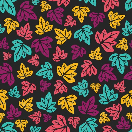 Hand-drawn seamless pattern. Vector illustration. Colourful leaves. Doodle style Vector