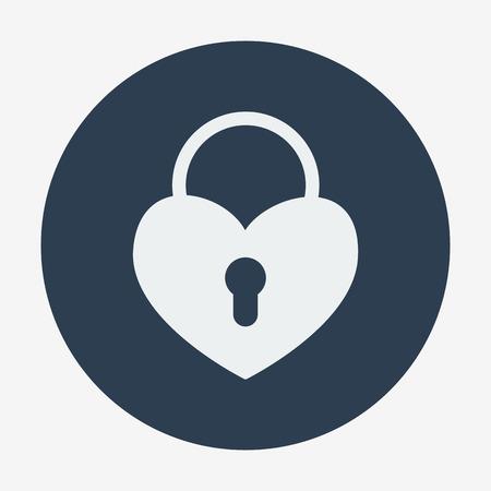 imprisoned: Single flat heart padlock icon. Vector illustration. Monochrome icon