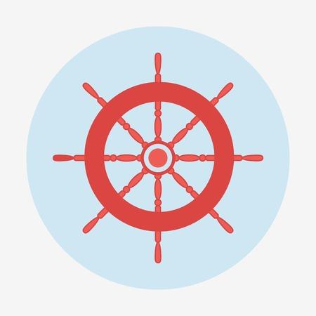 frigate: Pirate theme icon, helm of ship. Flat design vector illustration. Illustration