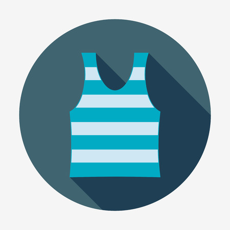 Pirate icon, striped singlet. Flat design vector illustration. Long shadow Illustration