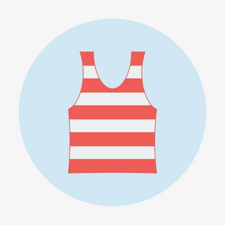 Pirate theme icon, striped singlet. Flat design vector illustration. Illustration
