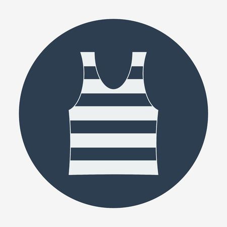 singlet: Pirate theme icon, striped singlet. Flat design vector illustration. Illustration
