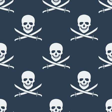 jolly roger: Seamless pattern with jolly roger. Vector illustration. Monochrome.