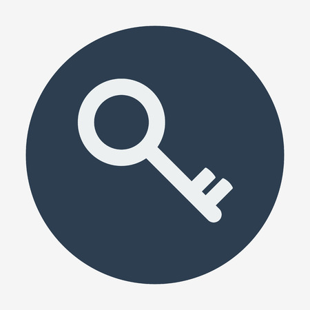 patent key: Single flat key icon. Vector illustration. Monochrome icon