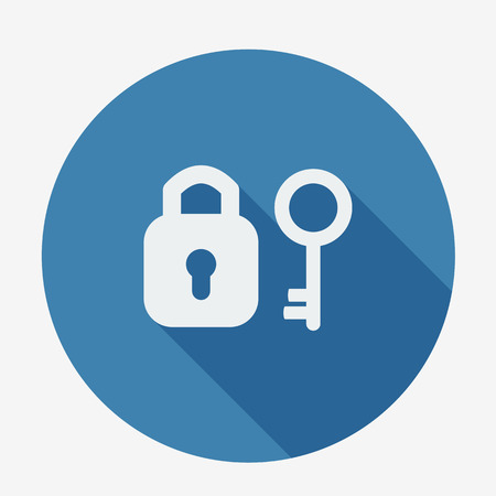 unbreakable: Single flat icon with long shadow. Key and padlock. Vector illustration
