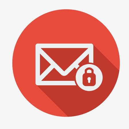 correo electronico: Icono de correo, un sobre con candado. Ilustraci�n vectorial Dise�o plano. Sombra larga