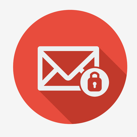 email icon: Mail icon, envelope with padlock. Flat design vector illustration. Long shadow