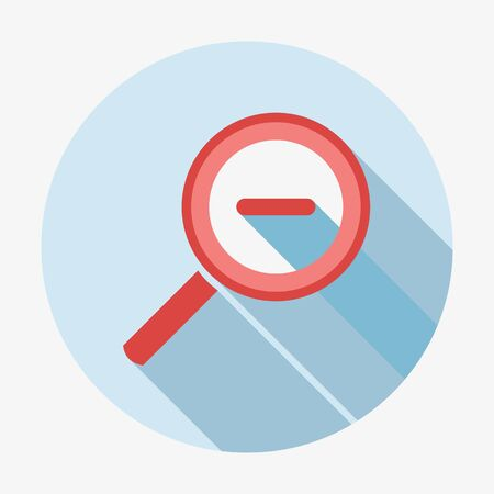 detect: Single flat style magnifying glass icon with long shadow. Vector illustration Illustration