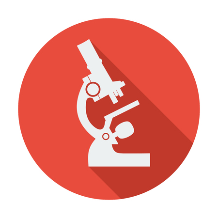 bacteria microscope: Single flat microscope icon. Vector illustration. Long shadow