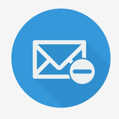 disallow: Mail icon, envelope with minus sign. Flat design vector illustration. Long shadow