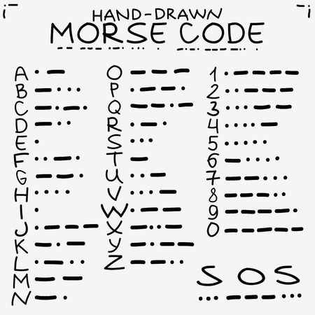 morse code: Hand-drawn doodle sketch. International Morse code isolated on white background.