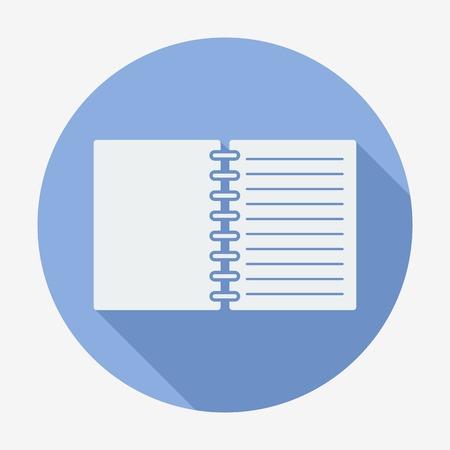 Flat style icon, notebook vector illustration. Long shadow Ilustração