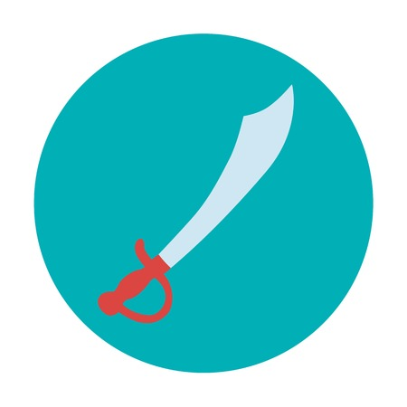 Pirate theme icon with saber. Flat design vector illustration. Vector